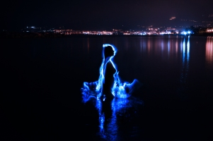 Light Painting in riva al mare